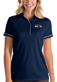 Seattle Seahawks Womens Antigua Salute Polo Shirt - Navy Blue