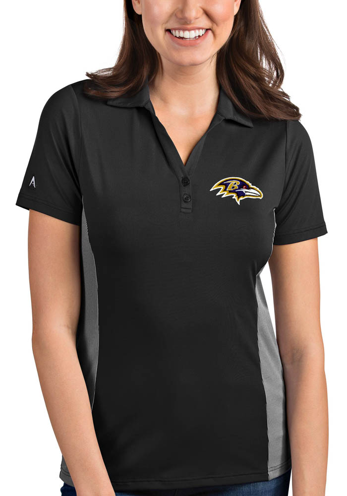 Antigua Baltimore Ravens Womens Grey Venture Short Sleeve Polo Shirt - Image 1