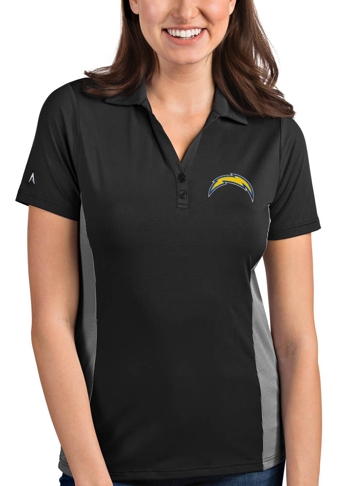 Antigua Los Angeles Chargers Womens Grey Venture Short Sleeve Polo Shirt - Image 1