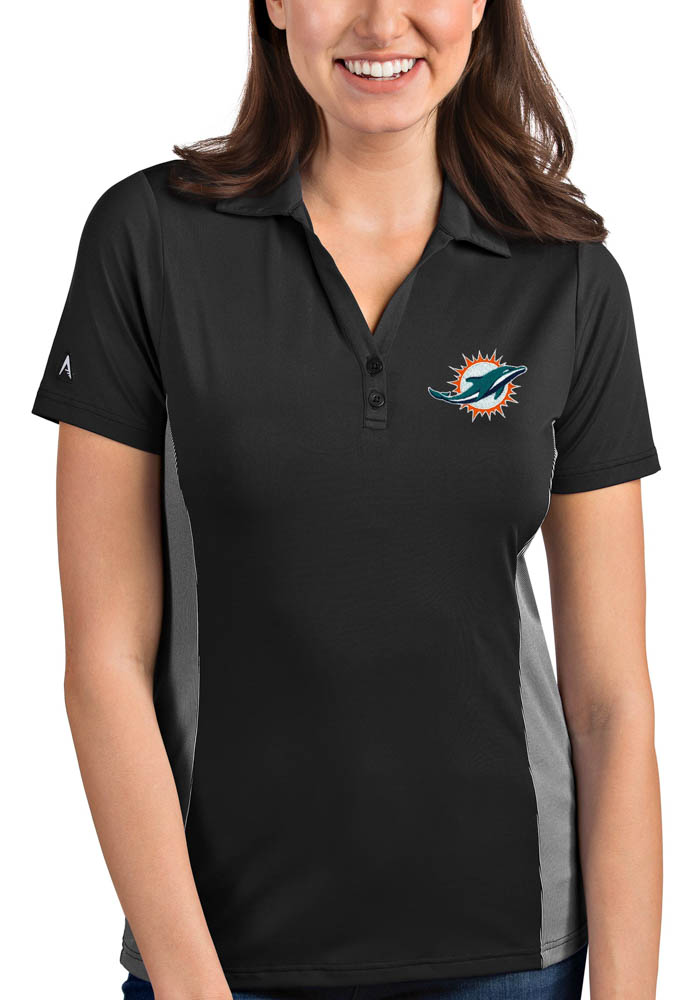 Miami Dolphins Womens Grey Venture Short Sleeve Polo Shirt - Image 1