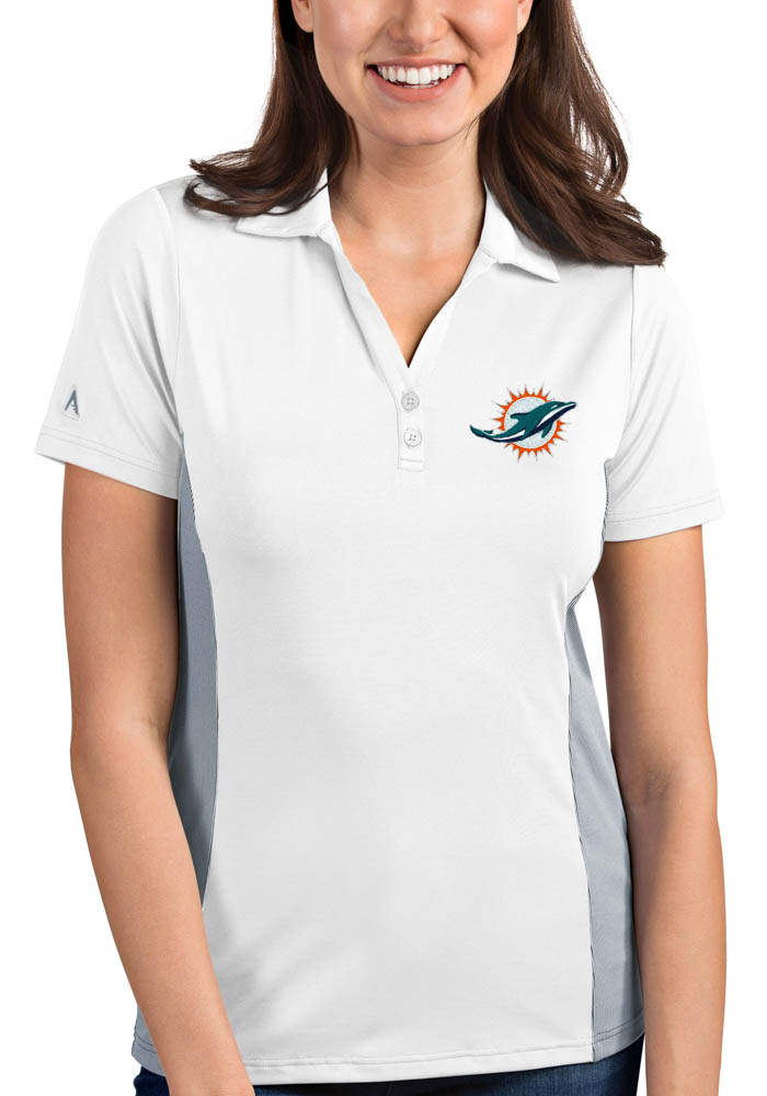 Miami Dolphins Womens White Venture Short Sleeve Polo Shirt - Image 1
