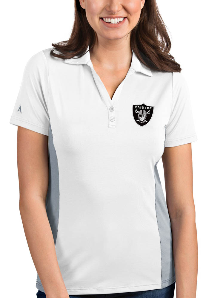 Antigua Las Vegas Raiders Womens White Venture Short Sleeve Polo Shirt - Image 1