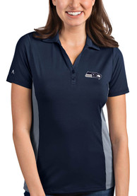 Seattle Seahawks Womens Antigua Venture Polo Shirt - Navy Blue