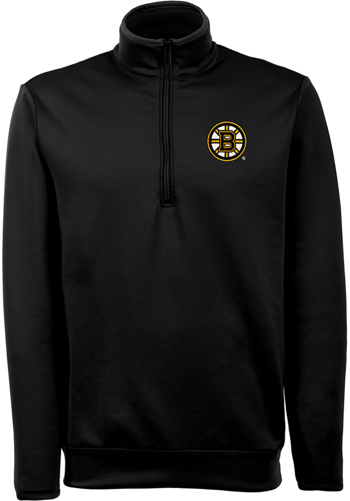Antigua Boston Bruins Mens Black Leader Long Sleeve 1/4 Zip Pullover - Image 1