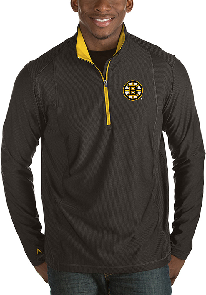Antigua Boston Bruins Mens Black Tempo Long Sleeve 1/4 Zip Pullover - Image 1
