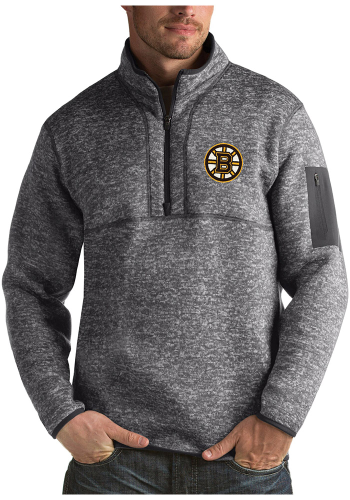 Antigua Boston Bruins Mens Grey Fortune Long Sleeve 1/4 Zip Fashion Pullover - Image 1