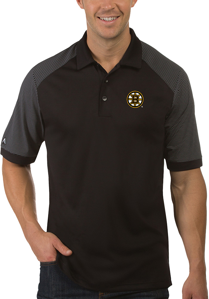 Antigua Boston Bruins Mens Black Engage Short Sleeve Polo - Image 1