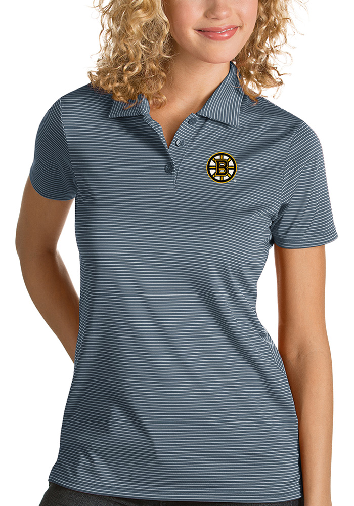 Antigua Boston Bruins Womens Grey Quest Short Sleeve Polo Shirt - Image 1