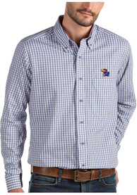 Antigua Kansas Jayhawks Blue Structure Dress Shirt