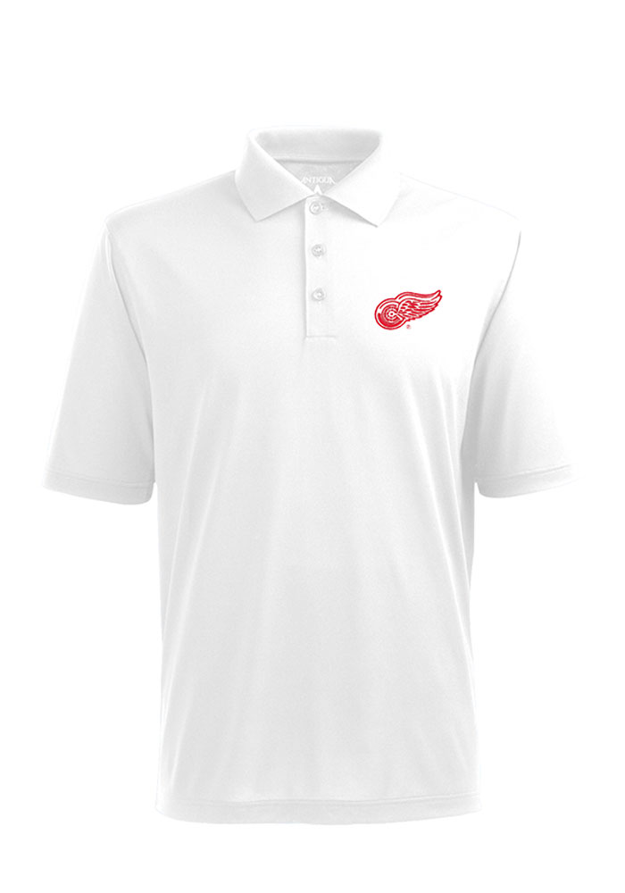 Antigua Detroit Red Wings White Pique Short Sleeve Polo Shirt 2a39b43ee