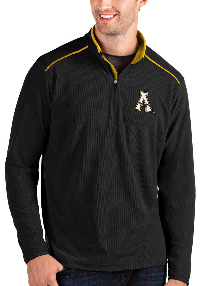 Antigua Appalachian State Mountaineers Mens Black Glacier Long Sleeve 1/4 Zip Pullover - Image 1