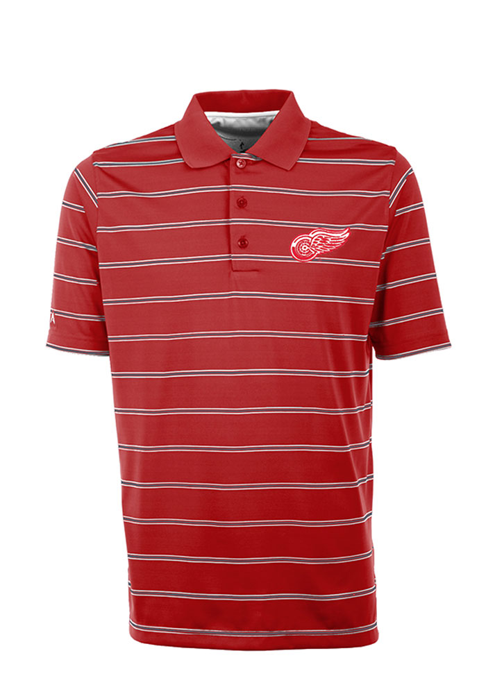 Antigua Detroit Red Wings Mens Red Deluxe Short Sleeve Polo - Image 1