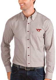 Virginia Tech Hokies Antigua Structure Dress Shirt - Red