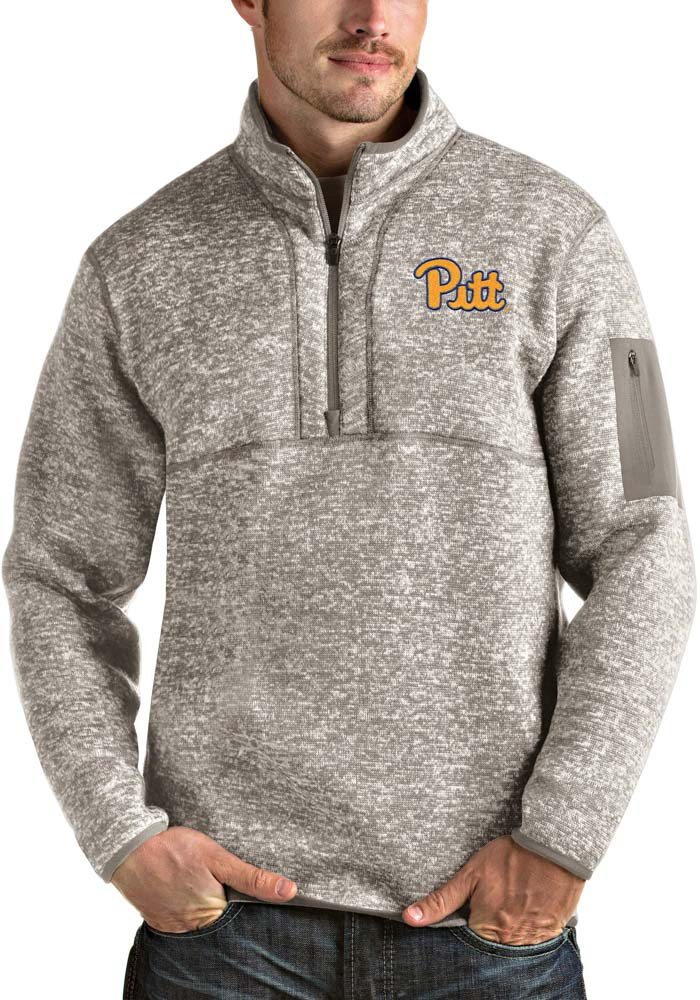 Antigua Pitt Panthers Mens Oatmeal Fortune Long Sleeve 1/4 Zip Fashion Pullover - Image 1