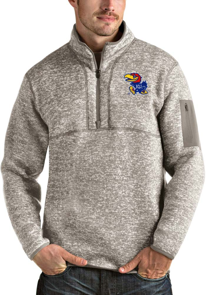 Antigua Kansas Jayhawks Mens Oatmeal Fortune Long Sleeve 1/4 Zip Fashion Pullover - Image 1