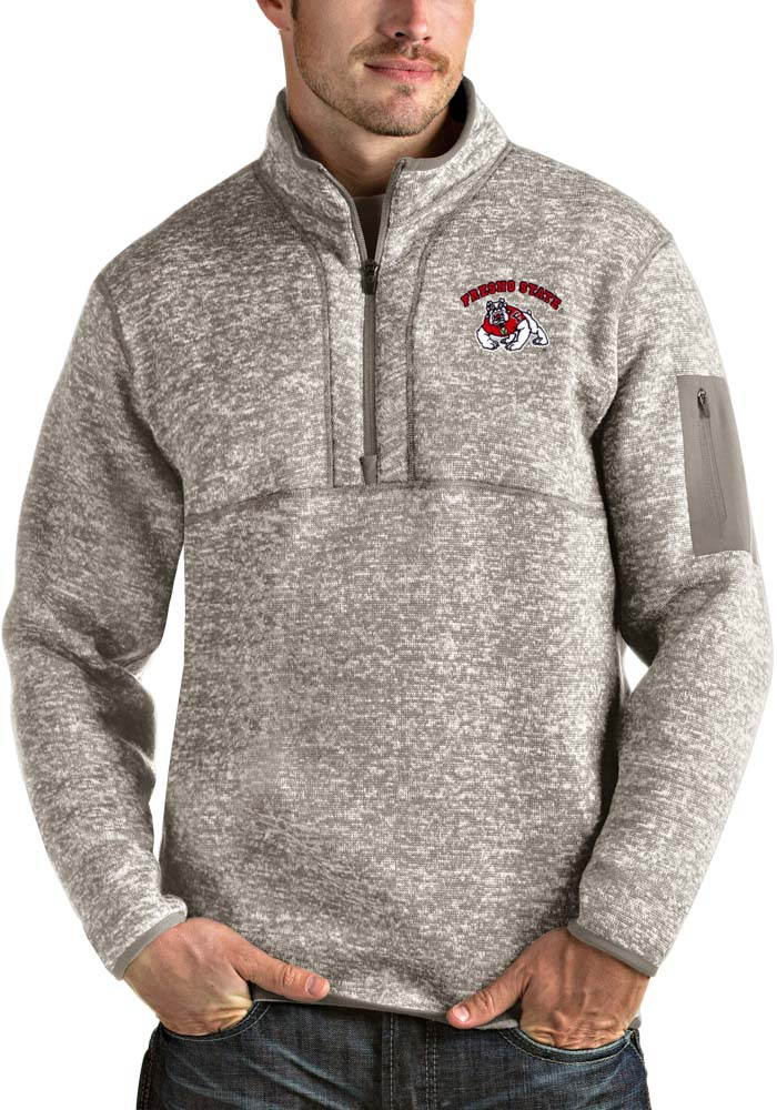 Antigua Fresno State Bulldogs Mens Oatmeal Fortune Long Sleeve 1/4 Zip Fashion Pullover - Image 1