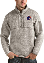 Antigua Boise State Broncos Mens Oatmeal Fortune Long Sleeve 1/4 Zip Fashion Pullover