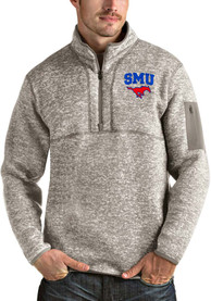 SMU Mustangs Antigua Fortune 1/4 Zip Fashion - Oatmeal