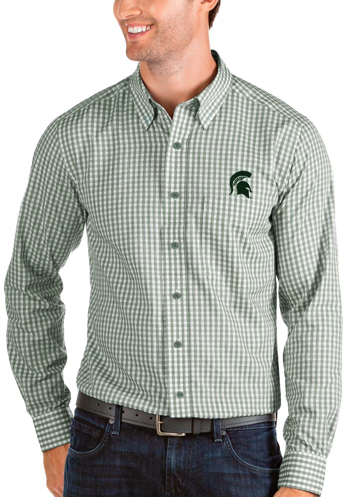 Antigua Michigan State Spartans Mens Green Structure Long Sleeve Dress Shirt - Image 1