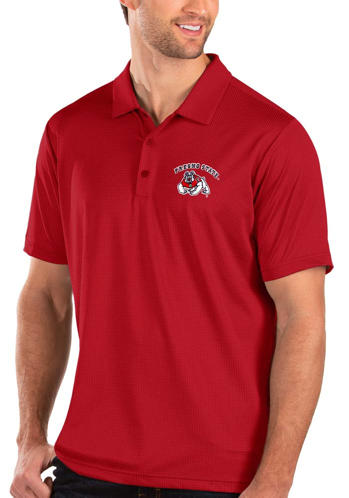 Antigua Fresno State Bulldogs Mens Red Balance Short Sleeve Polo - Image 1