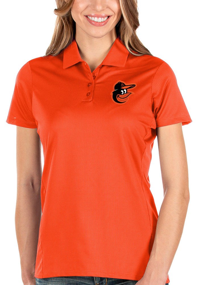 Antigua Baltimore Orioles Womens Orange Balance Short Sleeve Polo Shirt - Image 1