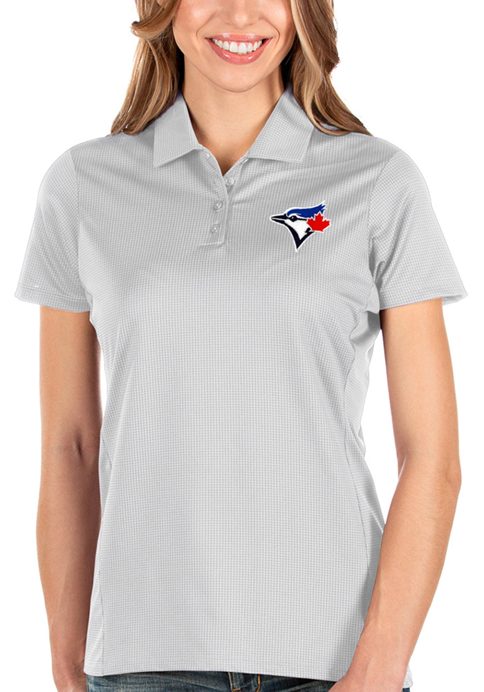 Antigua Toronto Blue Jays Womens White Balance Short Sleeve Polo Shirt - Image 1