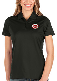 Cincinnati Reds Womens Antigua Balance Polo Shirt - Black