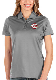 Cincinnati Reds Womens Antigua Balance Polo Shirt - Grey