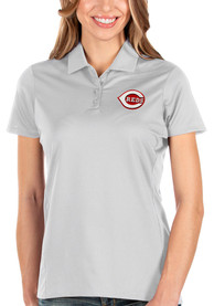Cincinnati Reds Womens Antigua Balance Polo Shirt - White