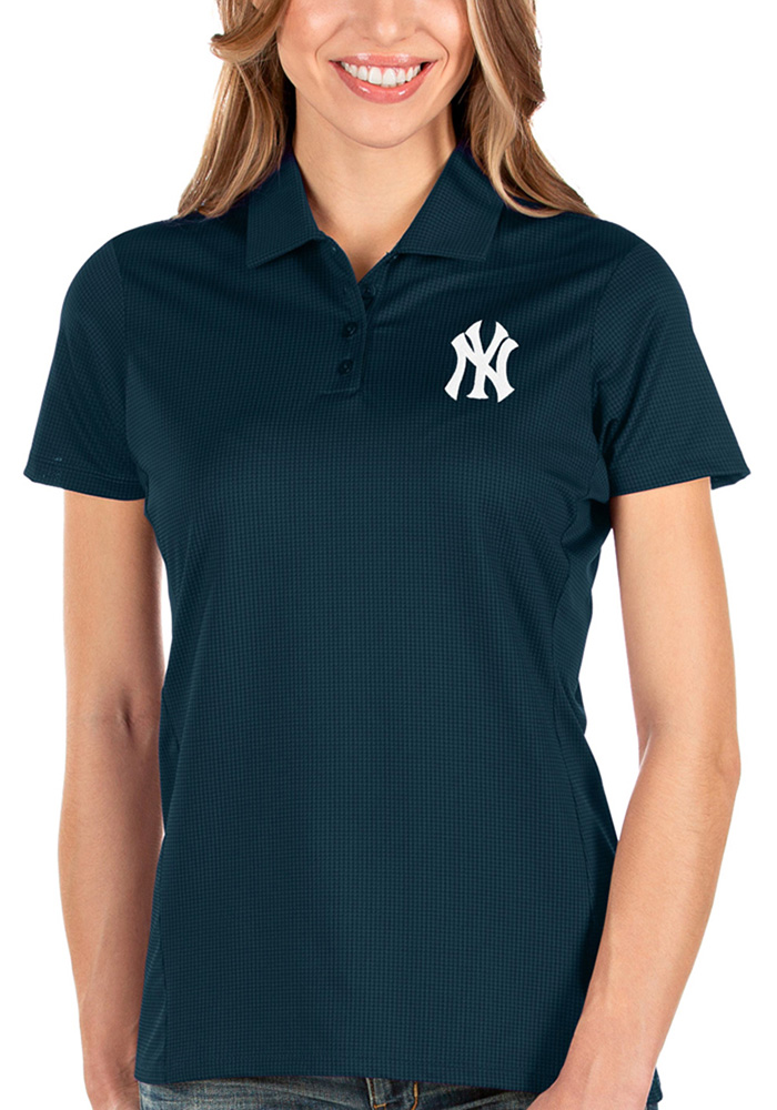Antigua New York Yankees Womens Navy Blue Balance Short Sleeve Polo Shirt - Image 1