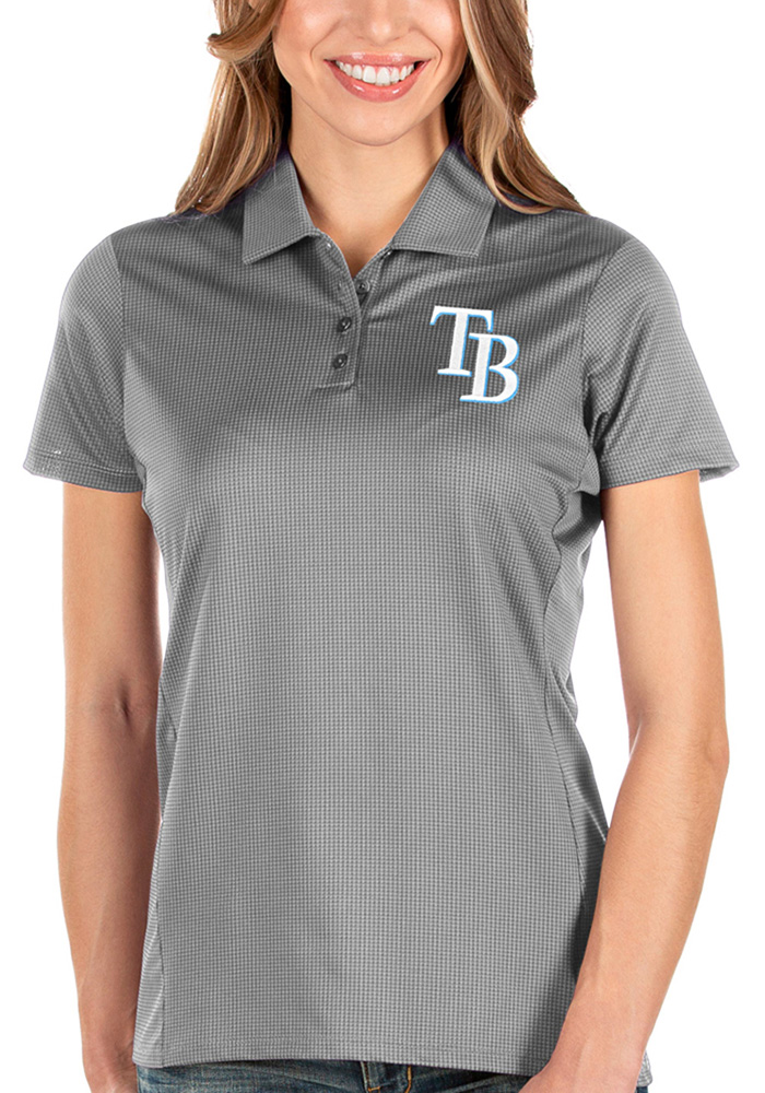 Antigua Tampa Bay Rays Womens Grey Balance Short Sleeve Polo Shirt - Image 1