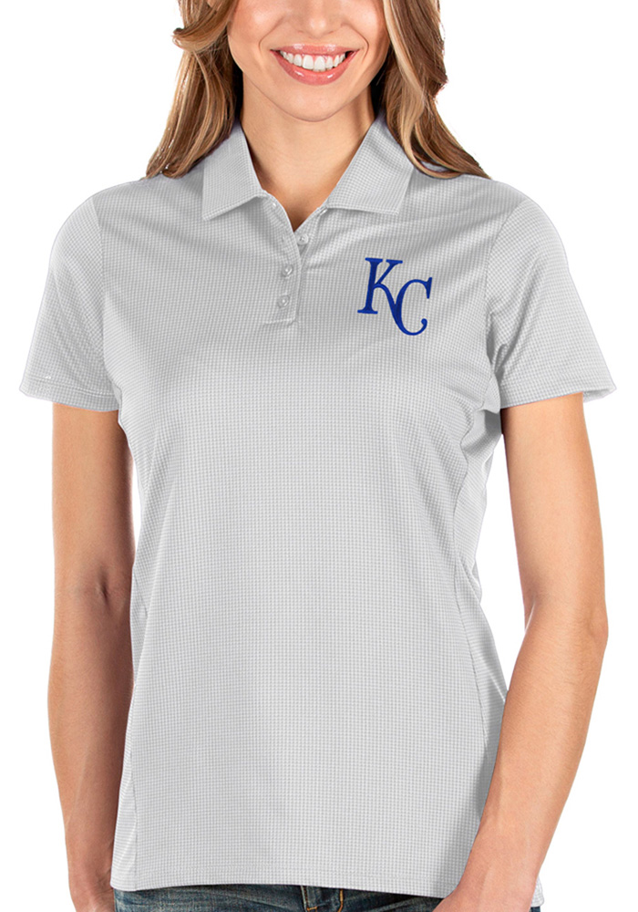 Antigua Kansas City Royals Womens White Balance Short Sleeve Polo Shirt - Image 1