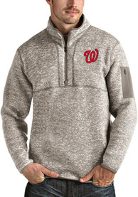 Washington Nationals Antigua Fortune 1/4 Zip Fashion - Oatmeal