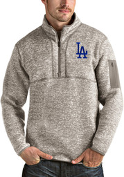 Antigua Los Angeles Dodgers Mens Oatmeal Fortune Long Sleeve 1/4 Zip Fashion Pullover