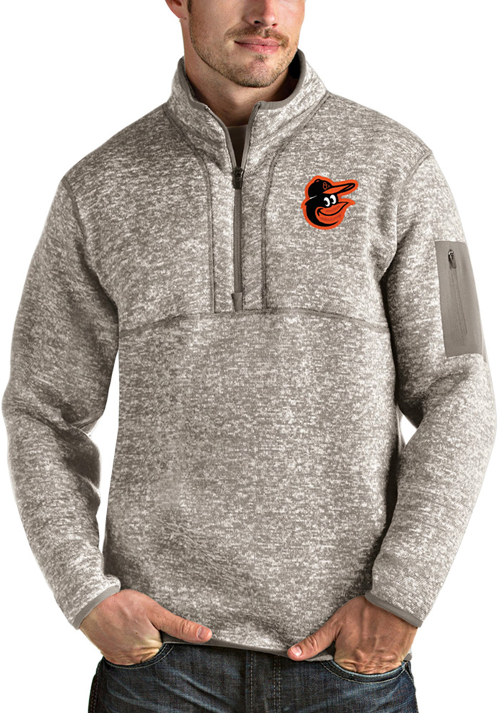 Antigua Baltimore Orioles Mens Oatmeal Fortune Long Sleeve 1/4 Zip Fashion Pullover - Image 1