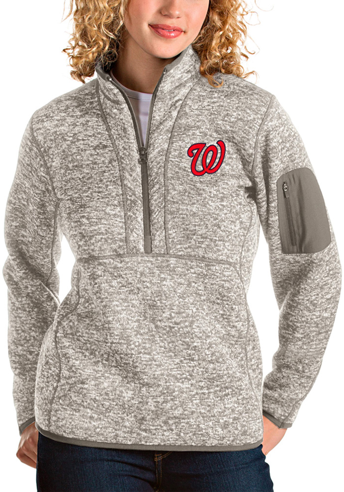 Antigua Washington Nationals Womens Oatmeal Fortune 1/4 Zip Pullover - Image 1