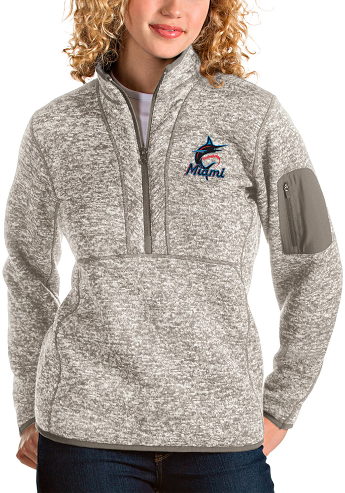 Antigua Miami Marlins Womens Oatmeal Fortune 1/4 Zip Pullover - Image 1