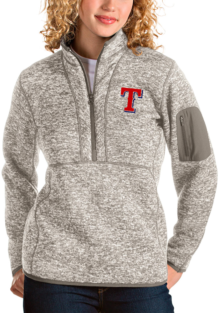 Antigua Texas Rangers Womens Oatmeal Fortune 1/4 Zip Pullover - Image 1