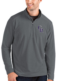 Colorado Rockies Antigua Glacier 1/4 Zip Pullover - Grey