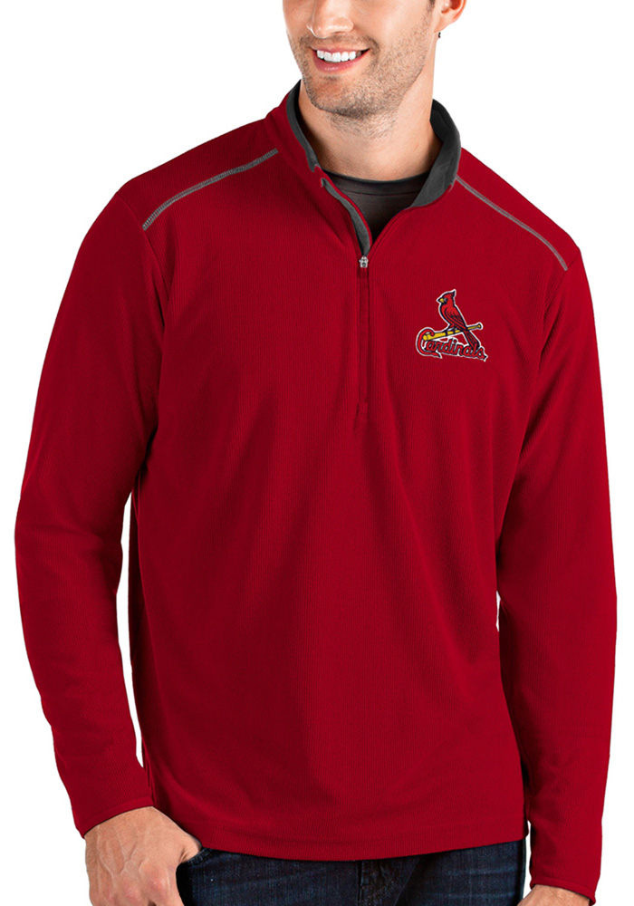 St Louis Cardinals Mens Red Glacier Long Sleeve 1/4 Zip Pullover - Image 1