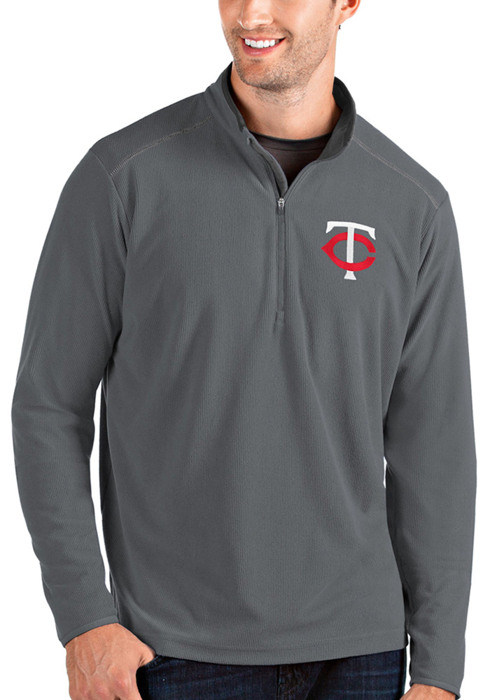 Antigua Minnesota Twins Mens Grey Glacier Long Sleeve 1/4 Zip Pullover - Image 1