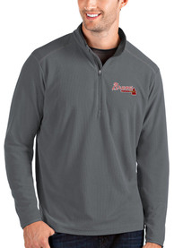 Atlanta Braves Antigua Glacier 1/4 Zip Pullover - Grey