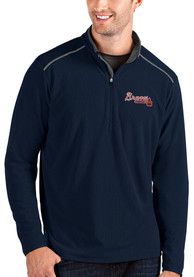 Atlanta Braves Antigua Glacier 1/4 Zip Pullover - Navy Blue