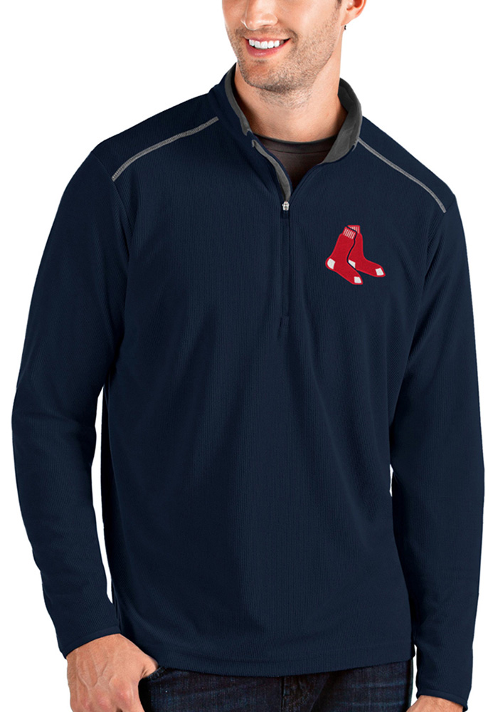 Antigua Boston Red Sox Mens Navy Blue Glacier Long Sleeve 1/4 Zip Pullover - Image 1