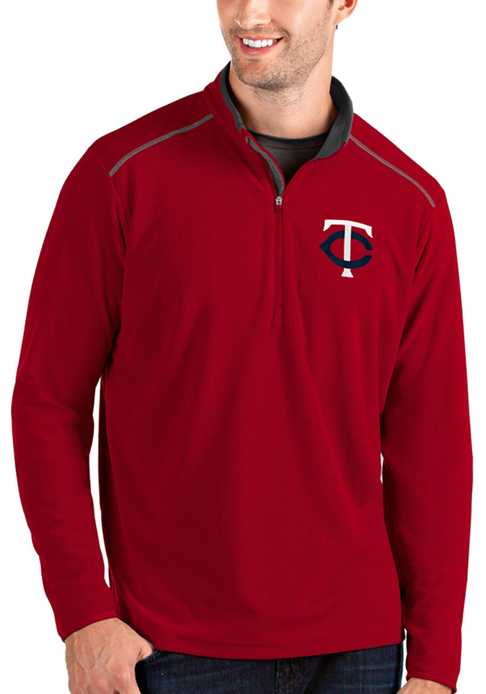 Antigua Minnesota Twins Mens Red Glacier Long Sleeve 1/4 Zip Pullover - Image 1