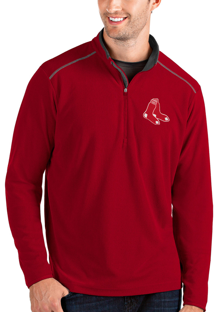 Antigua Boston Red Sox Mens Red Glacier Long Sleeve 1/4 Zip Pullover - Image 1