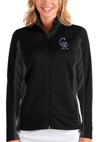 Colorado Rockies Womens Antigua Passage Medium Weight Jacket - Black
