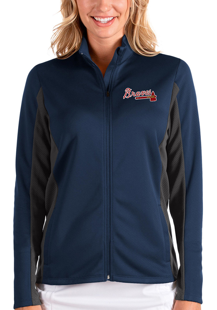 Antigua Atlanta Braves Womens Navy Blue Passage Medium Weight Jacket - Image 1