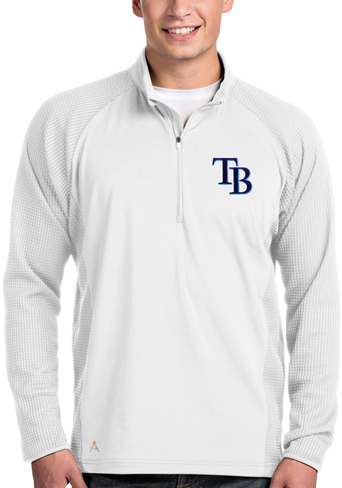 Tampa Bay Rays Mens White Sonar Long Sleeve 1/4 Zip Pullover - Image 1
