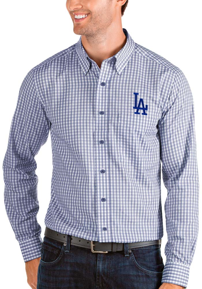 Antigua Los Angeles Dodgers Mens Blue Structure Long Sleeve Dress Shirt - Image 1